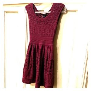 American Eagle lined maroon holiday dress